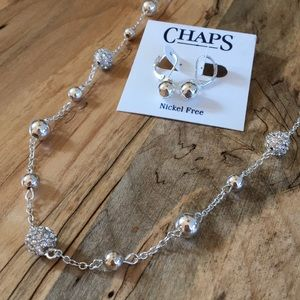 Chaps Silver Necklace & Earring Set